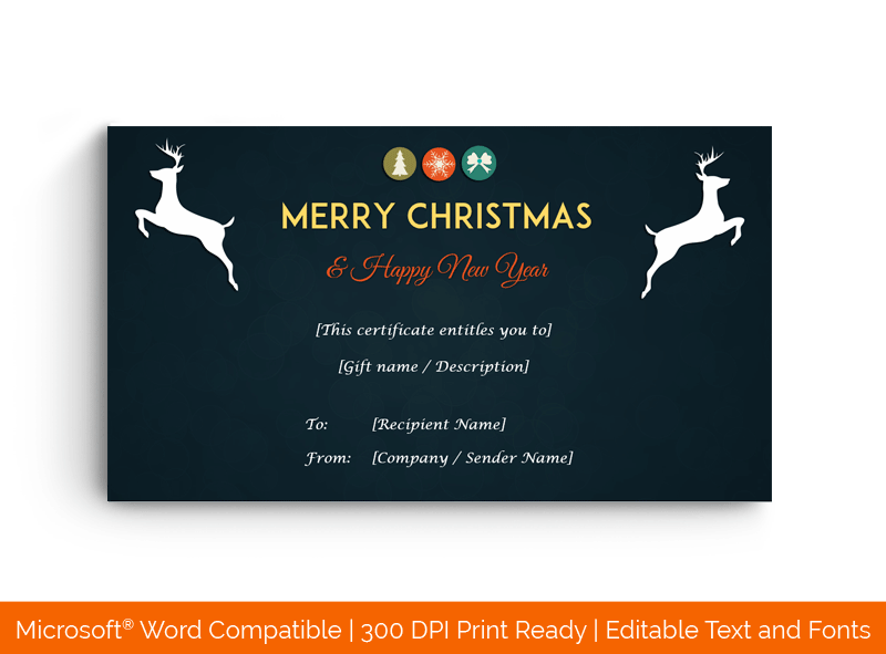 Christmas Gift Certificate Template Midnight Blue 1545