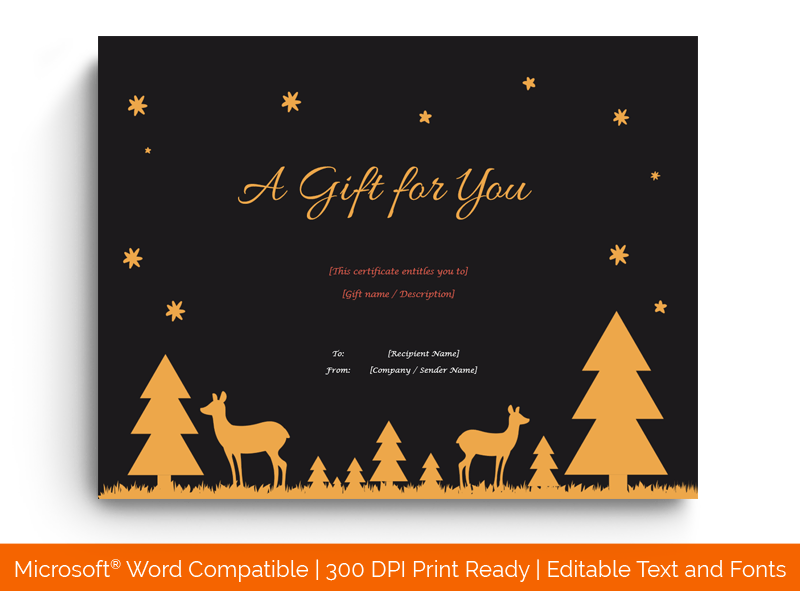 Christmas Gift Certificate Template Midnight Word 1870