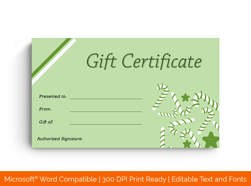 Christmas Gift Certificate Template Mint 18425