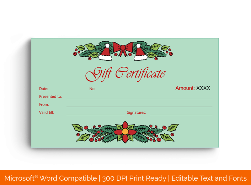 Christmas Gift Certificate Template Mint 199