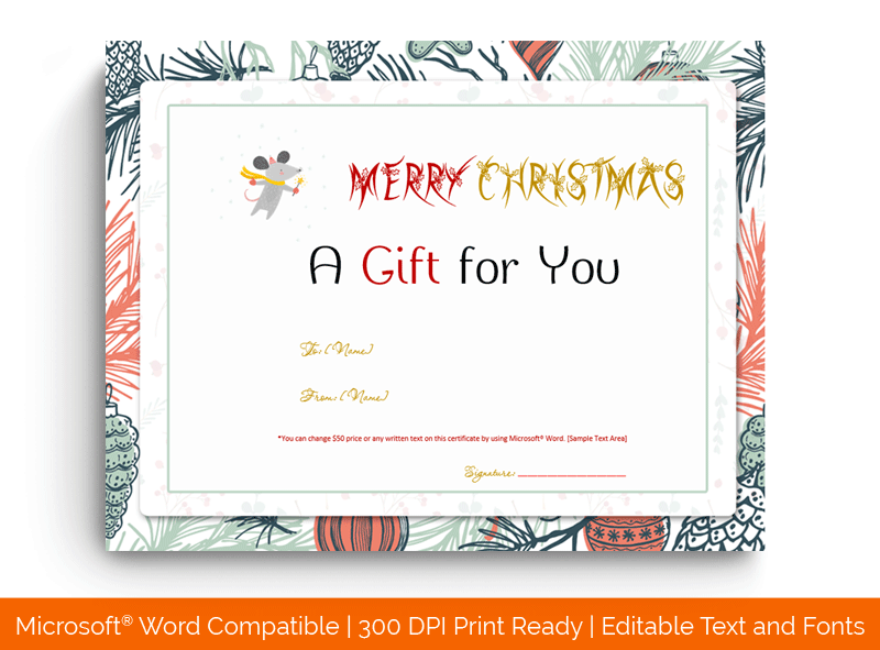 Christmas Gift Certificate Template Mouse 1854
