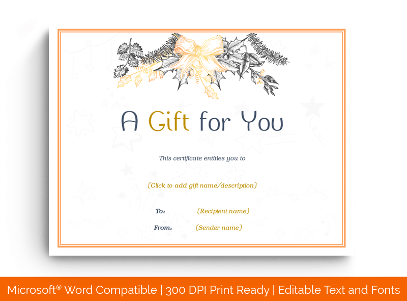 Christmas Gift Certificate Template Orange 1855