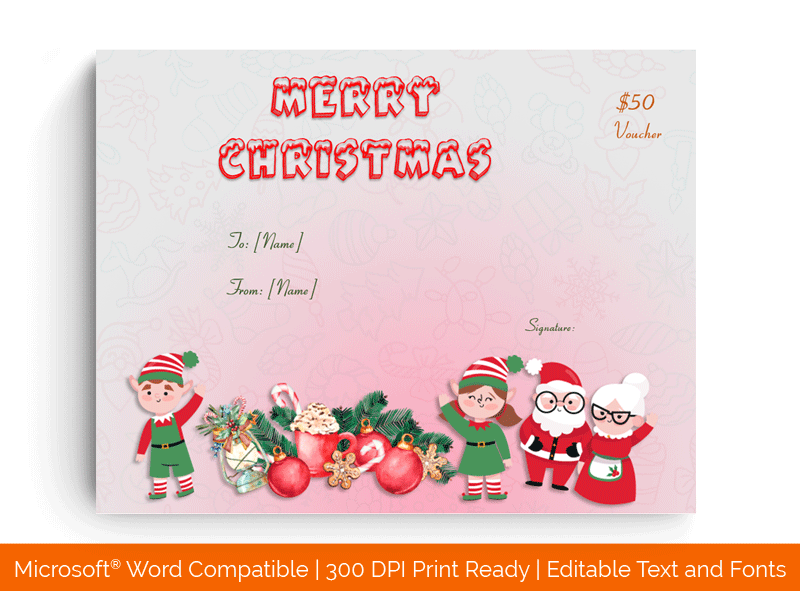Christmas Gift Certificate Template Pink 1856