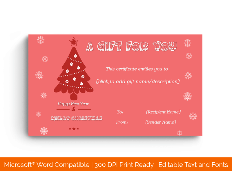 Christmas Gift Certificate Template Pink Tree 1863