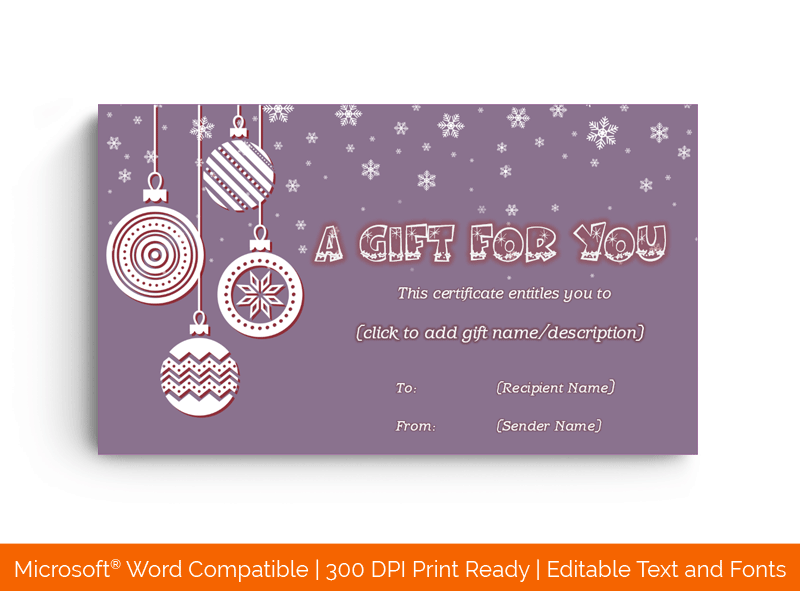 Christmas Gift Certificate Template Purple 18675