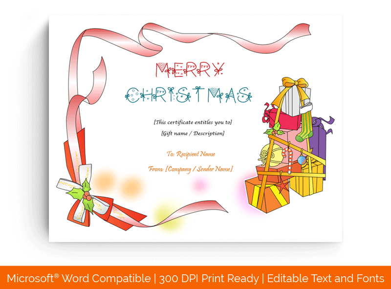 Christmas Gift Certificate Template Red Presents 99