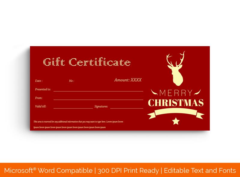 Christmas Gift Certificate Template Red Reindeer 66