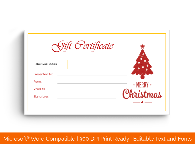Christmas Gift Certificate Template Red Tree 1847