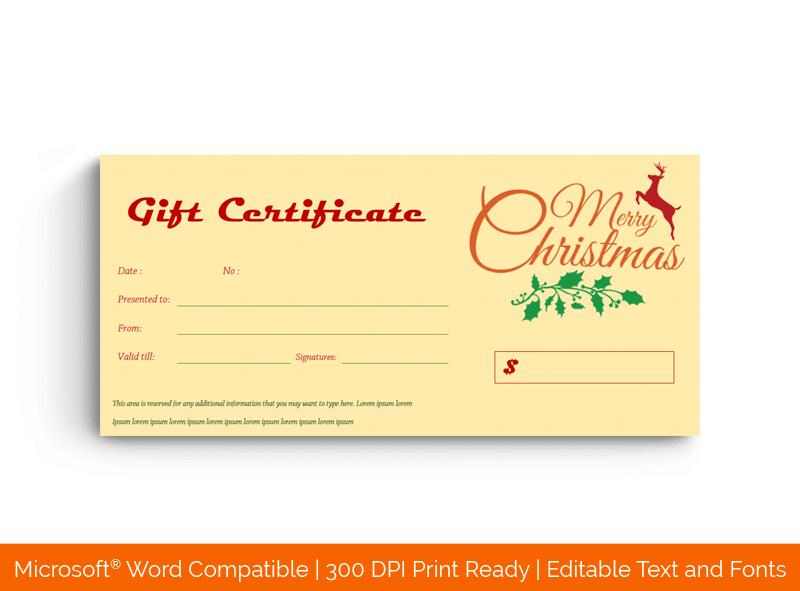 Christmas Gift Certificate Template Reindeer 18386