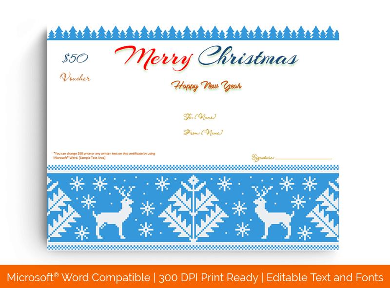 Christmas Gift Certificate Template Reindeer 1857