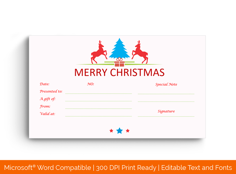 Christmas Gift Certificate Template Reindeer Design 3248