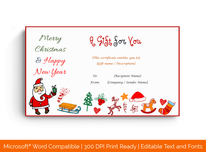 Christmas Gift Certificate Template Santa 1877