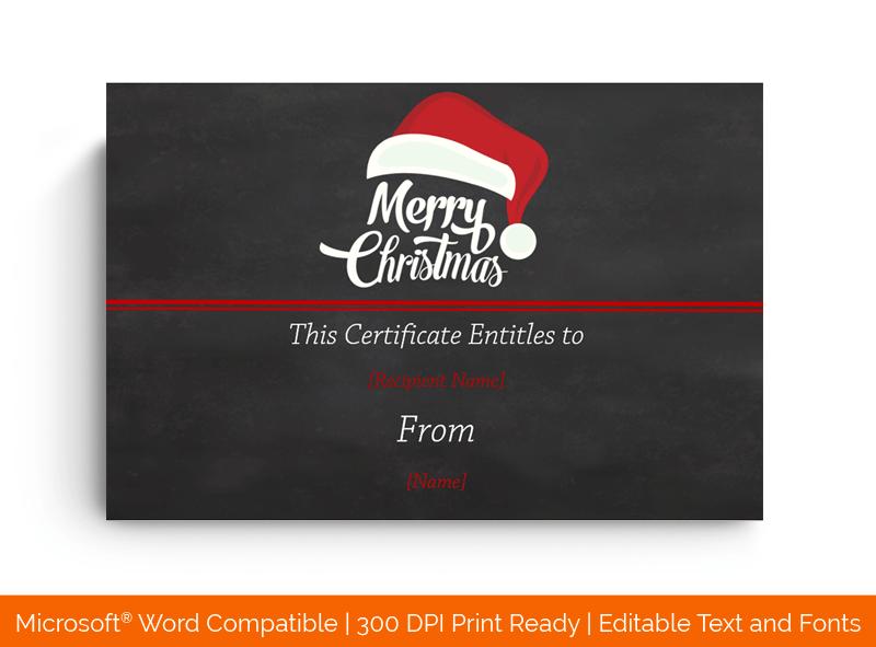 Christmas Gift Certificate Template Santa Cap 1843