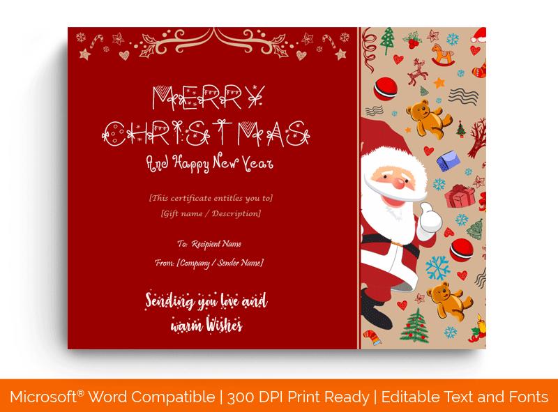 Christmas Gift Certificate Template Santa Claus 1786