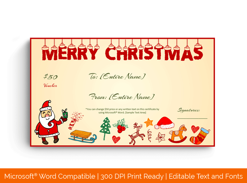 Christmas Gift Certificate Template Santa and Gifts 1855