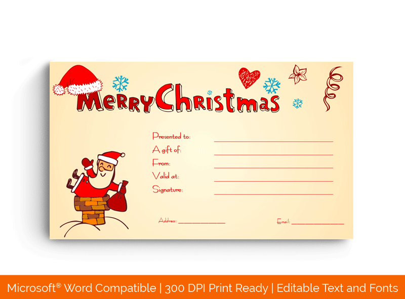 Christmas Gift Certificate Template Senta Clause Word