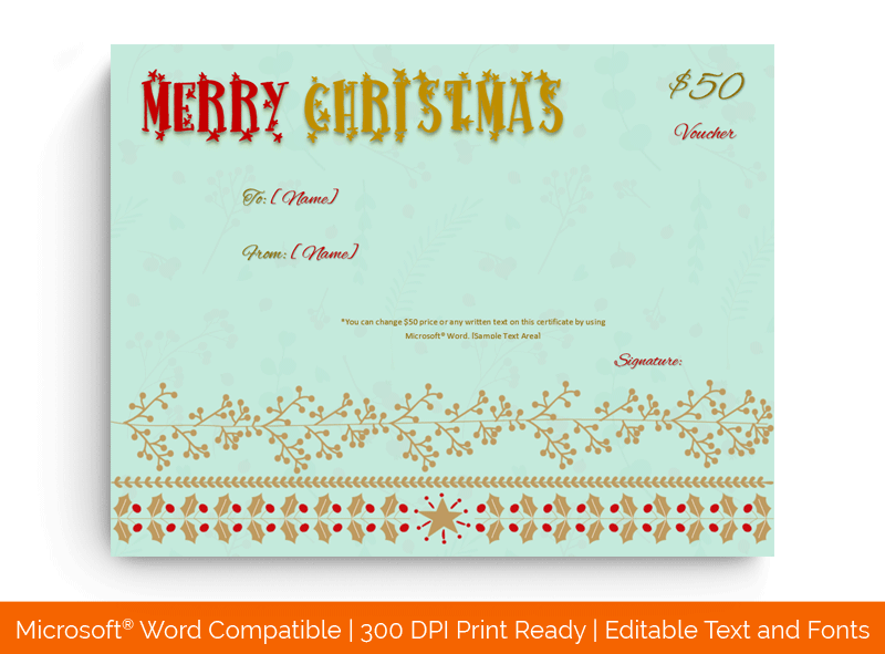 Christmas Gift Certificate Template Sky Blue 1869