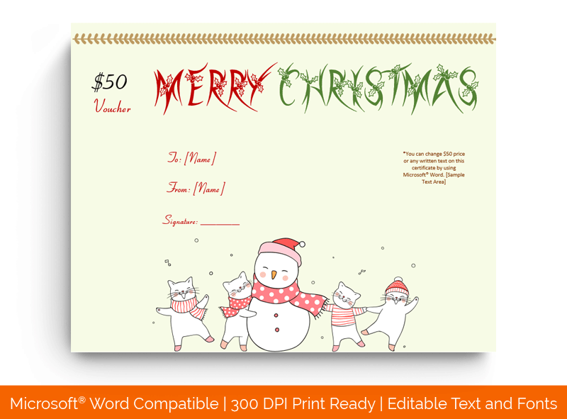 Christmas Gift Certificate Template Snow Man 1863