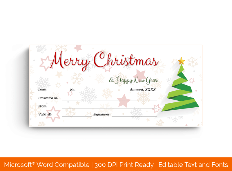 Christmas Gift Certificate Template Snowflake 18489