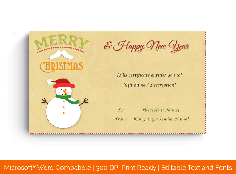 Christmas Gift Certificate Template Snowman 18590