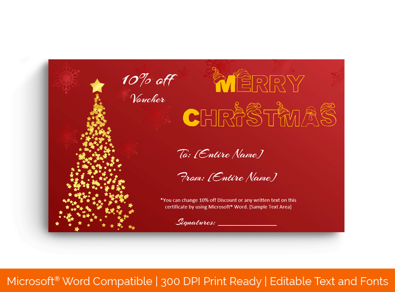 Christmas Gift Certificate Template Stars 18861