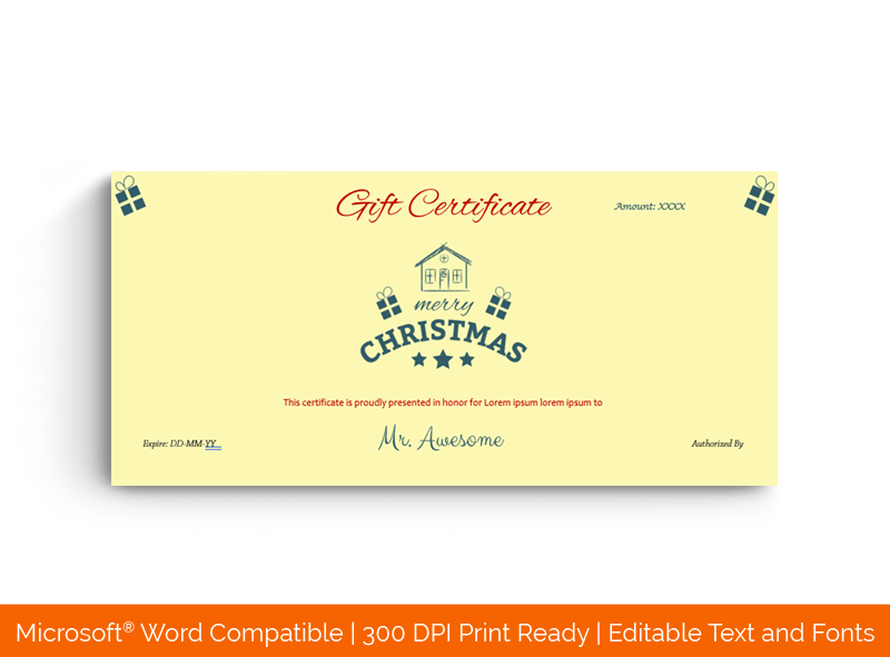 Christmas Gift Certificate Template Sweet Home 1833
