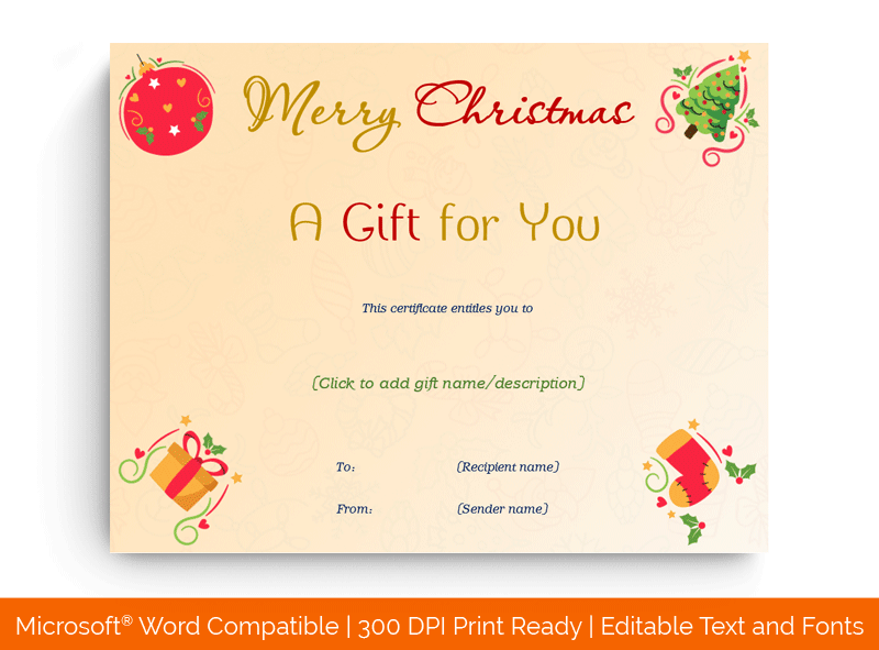 Christmas Gift Certificate Template Tree 1867