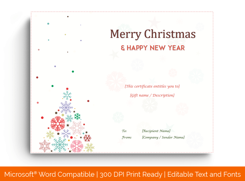 Christmas Gift Certificate Template Tree Design 18522