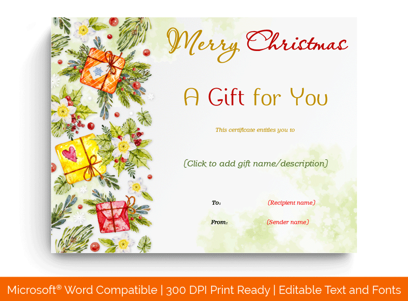 Christmas Gift Certificate Template Yellow 1860