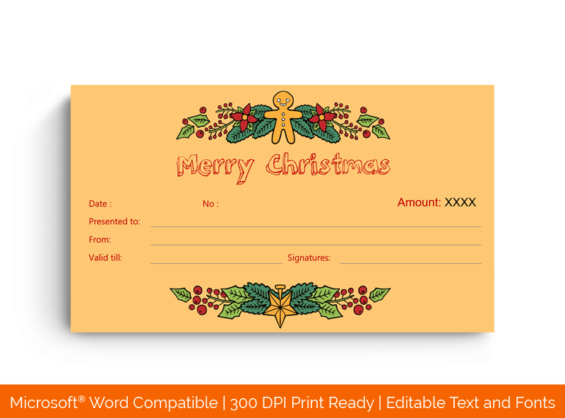 Christmas Gift Certificate Template flowers 18846
