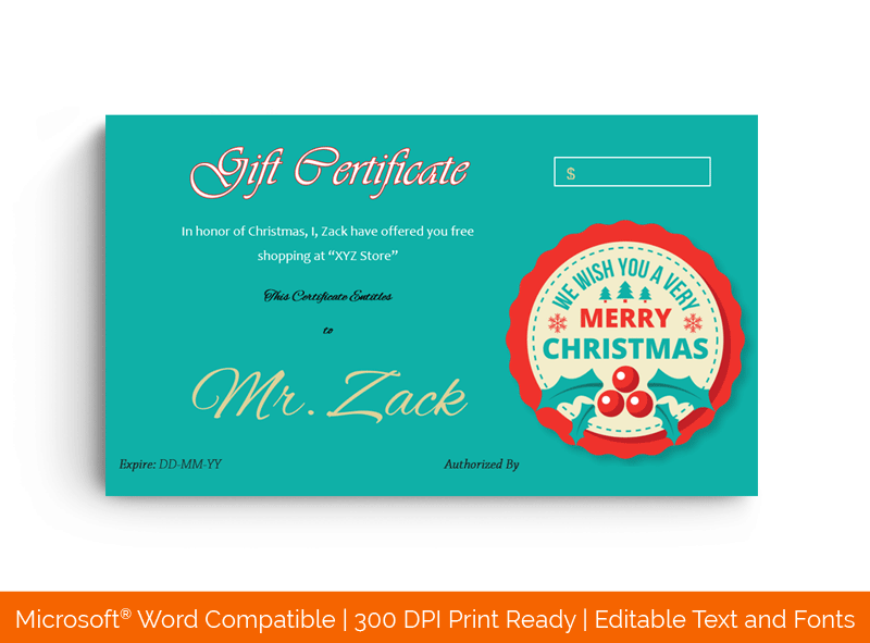 Christmas Gift Certificate Template for Word 1589