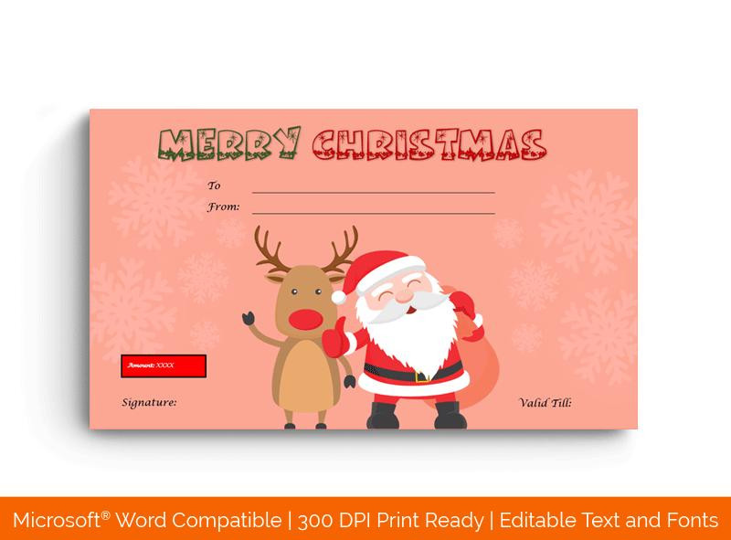 Christmas Gift Certificate Template in MS Word Dark pink 1879