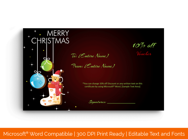 Christmas Gift Certificate Template in Word Bear 1859