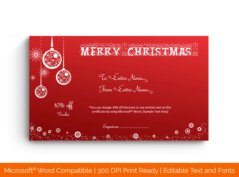 Christmas Gift Certificate Template in Word Bells 17862