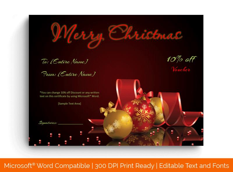 Christmas Gift Certificate Template in Word Dark Golden1856