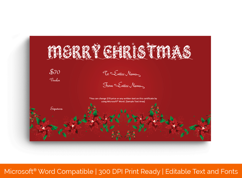 Christmas Gift Certificate Template in Word Floral red1876