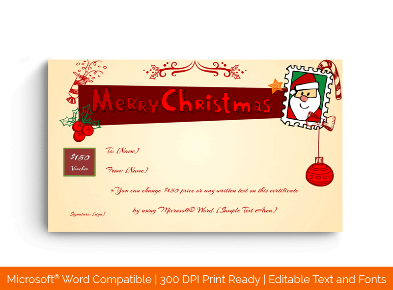 Christmas Gift Certificate Template in Word Peach 1858