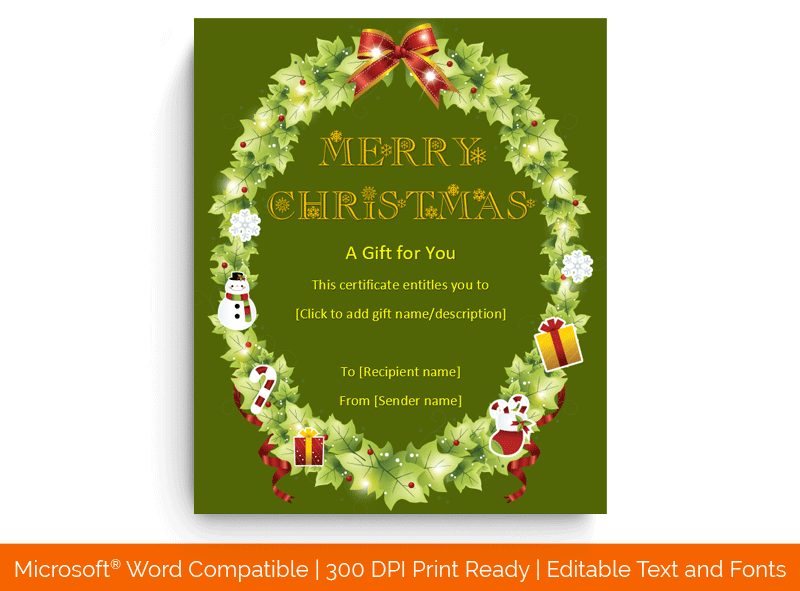 Christmas Gift Certificate Template in Word Round 1880
