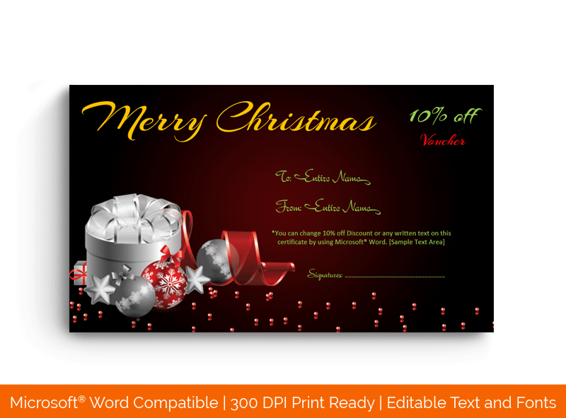 Christmas Gift Certificate Template in Word Silver 1857
