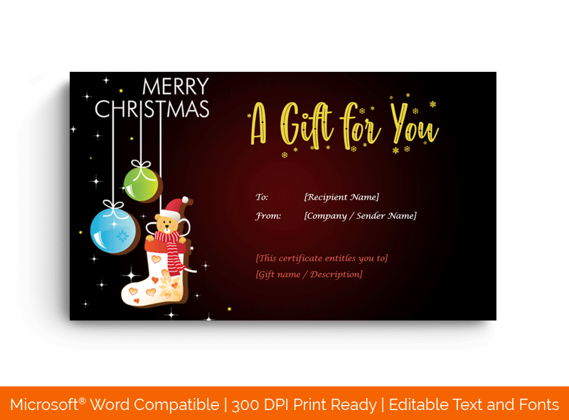 Christmas Gift Certificate Template in Word Teddy 1879