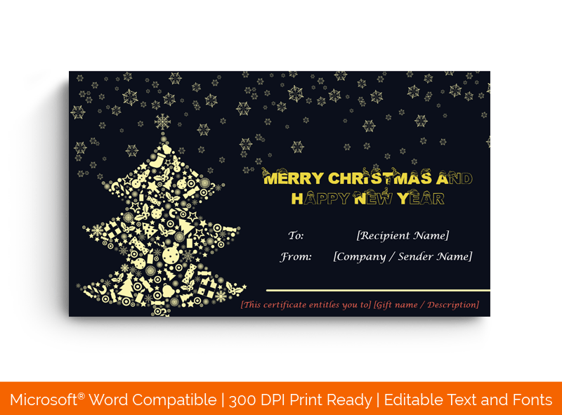 Christmas Gift Certificate Template in Word Tree 1872