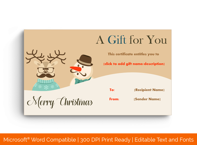Christmas Gift Certificate Template snowman 18264