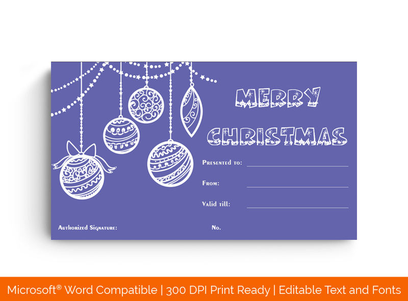 Christmas Gift Certificate Template violet 17421