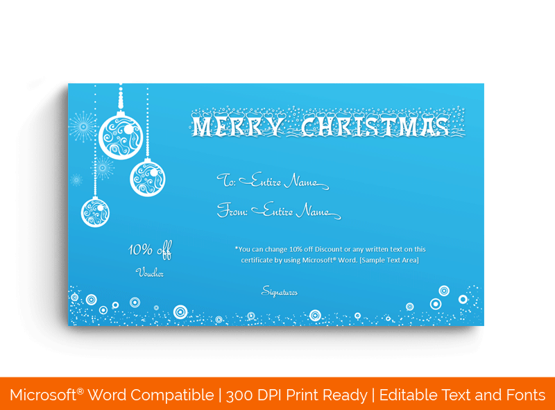 Christmas Gift Certificate Template white 16858