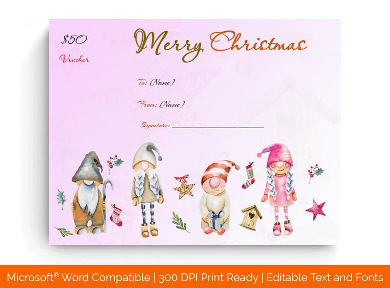 Christmas Gift Certificate Templates Elfs 1868