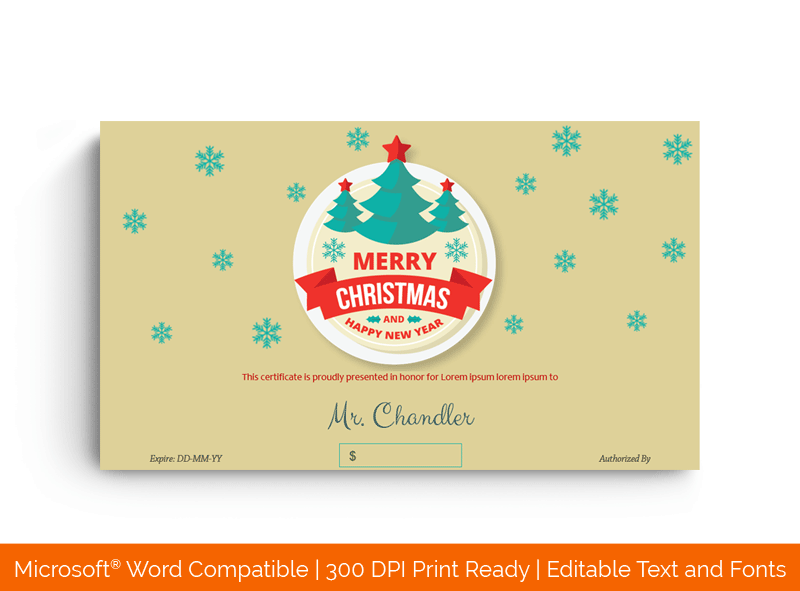 Christmas Gift Certificate Turquoise Snowflakes Template BRW Green