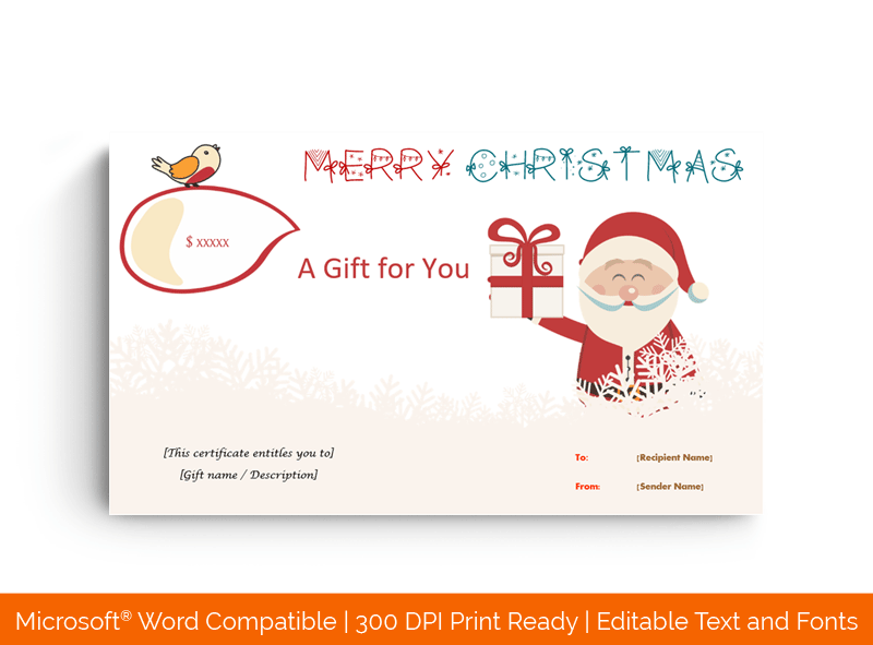 Christmas Gift Certificate in MS Word 58899658