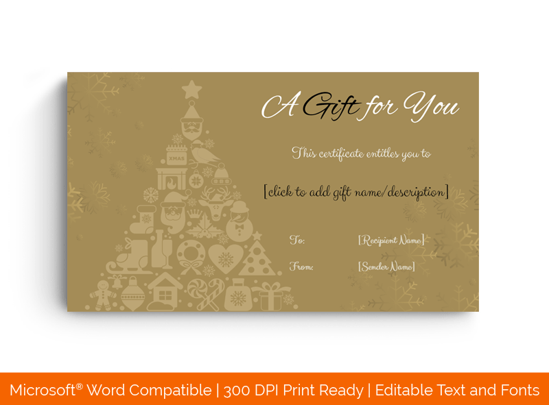 Christmas Gift Certificate in Word Gift tree 1867