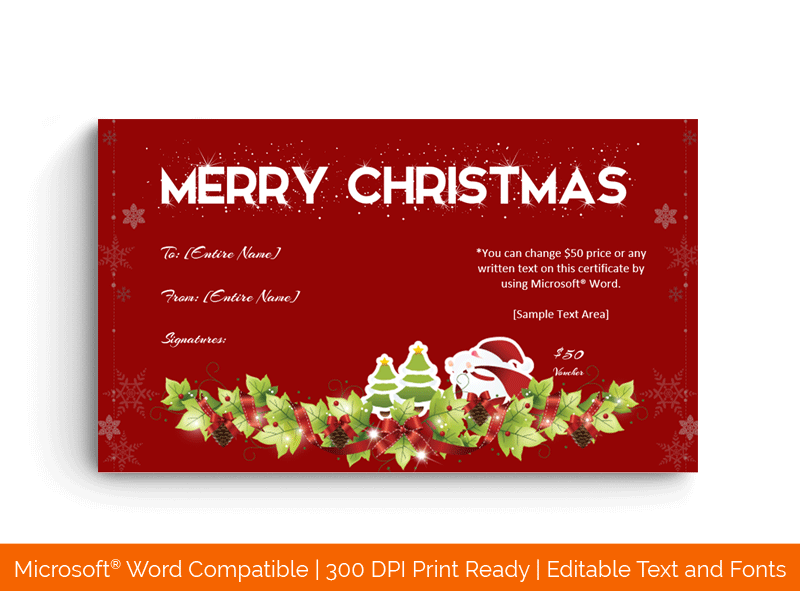 Christmas Gift Certificate in Word Red shine 1849