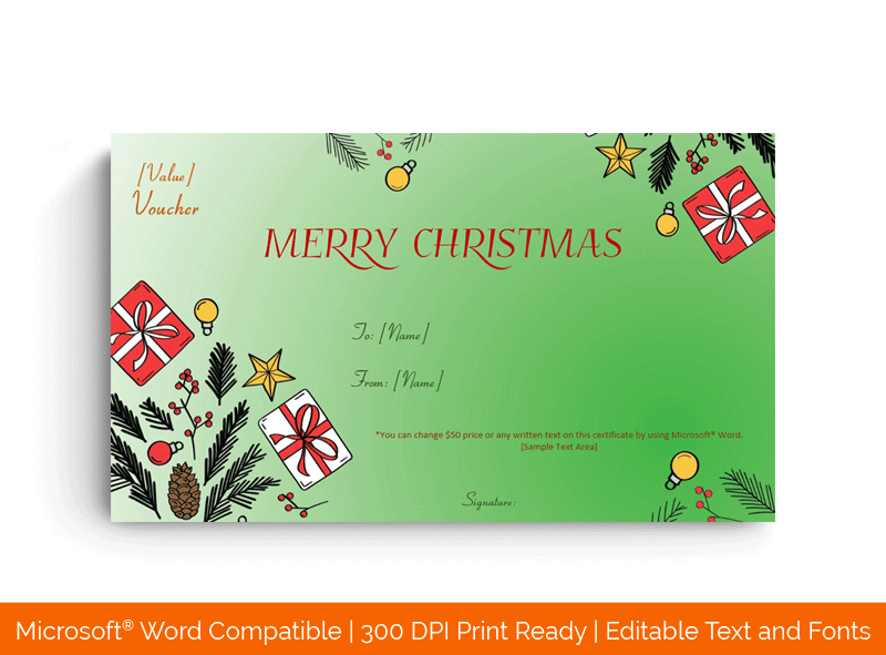 Christmas Gifts Display Certificate Template Green 56987